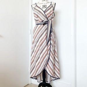 Anthropologie Dresses - Moon River Stripe Midi Faux Wrap Dress